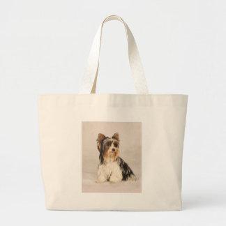 Grand Tote Bag Peinture de Mlle Mia Photo de Yorkie de portrait