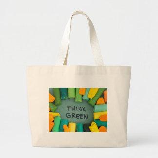 Grand Tote Bag Pensez le vert, concept d'écologie