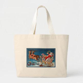 Grand Tote Bag père Noël vintage pilotant le traîneau