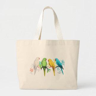 Grand Tote Bag Perroquets de Ringneck d'Indien