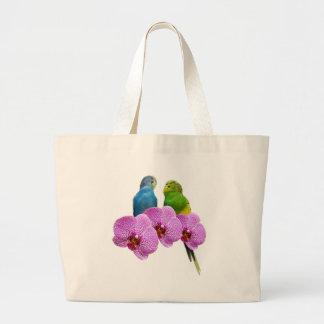 Grand Tote Bag Perruche avec l'orchidée pourpre