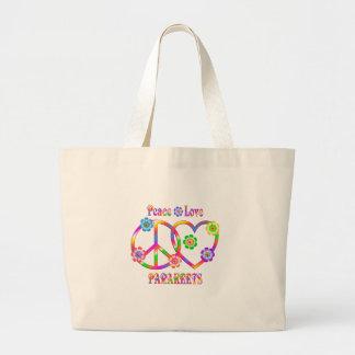 Grand Tote Bag Perruches d'amour de paix