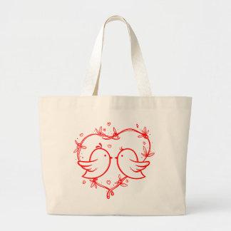 Grand Tote Bag Perruches et coeurs rouges épousant l'amour
