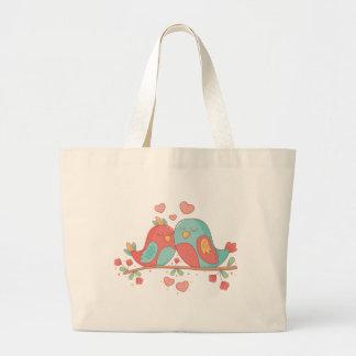 Grand Tote Bag Perruches roses et amour bleu de mariage de