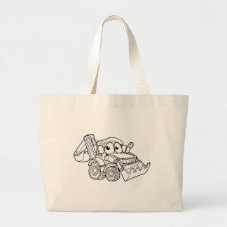 Grand Tote Bag Personnage de dessin animé de bêcheur de bouteur