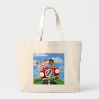 Grand Tote Bag Personnages de dessin animé conduisant la voiture