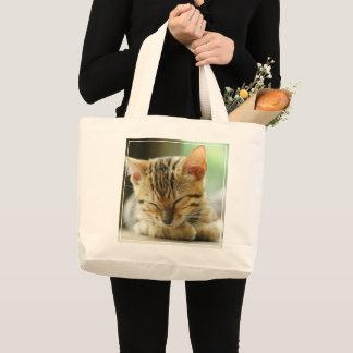 Grand Tote Bag Petit bébé de sommeil Kitty