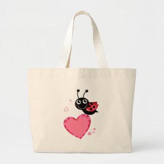 Grand Tote Bag Peu d'heureux d'abeille de vol blackred
