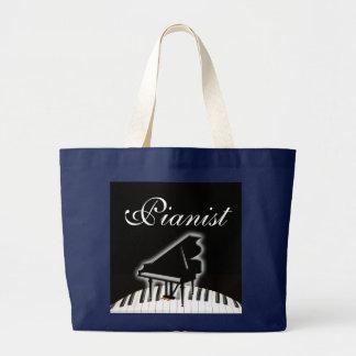 Grand Tote Bag Pianiste et clavier