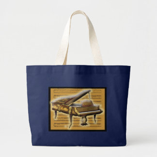 Grand Tote Bag Piano et notation musicale antiques