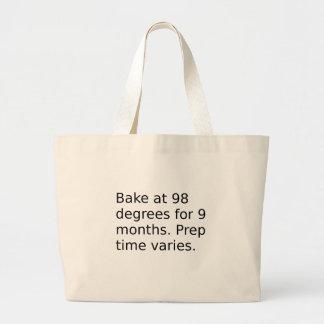 Grand Tote Bag Plaisanterie de bébé - faites cuire au four à 98