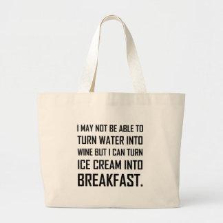 Grand Tote Bag Plaisanterie de petit déjeuner de crème glacée de