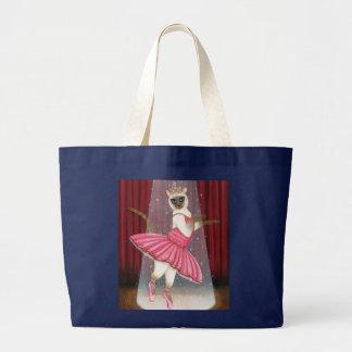 Grand Tote Bag Point de chocolat de chat de ballerine siamois,