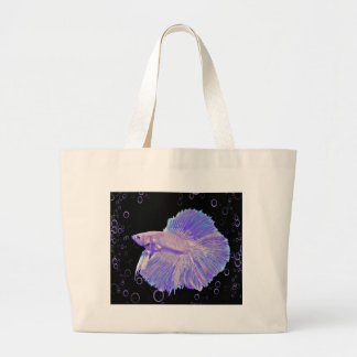 Grand Tote Bag Poissons de combat pourpres iridescents