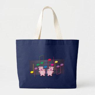 Grand Tote Bag Porcelets de danse :  Nous aimons la musique