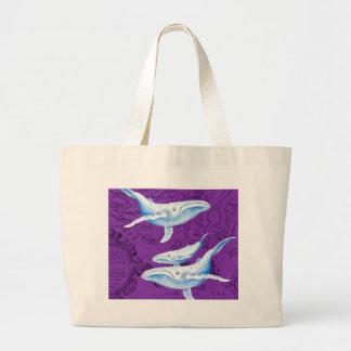Grand Tote Bag Pourpre de famille de baleines bleues