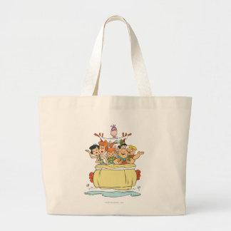Grand Tote Bag Promenade en voiture de famille de Flintstones