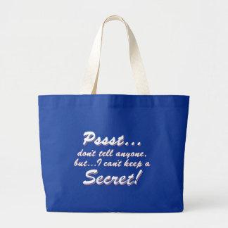 Grand Tote Bag Pssst… je ne peux pas garder un SECRET (blanc)