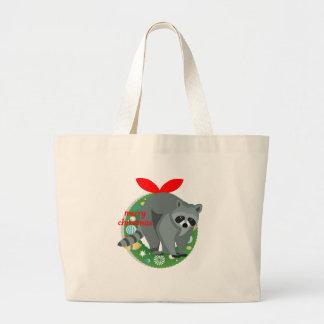 Grand Tote Bag raton laveur de Joyeux Noël