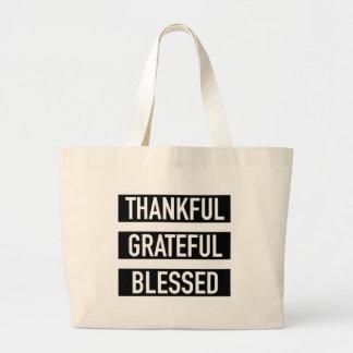 Grand Tote Bag Reconnaissant reconnaissant béni