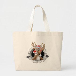 Grand Tote Bag Renne de casquette de Père Noël traversant