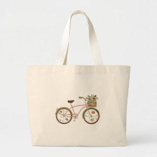 Grand Tote Bag Rétro bicyclette avec karzinkoy pour des fleurs