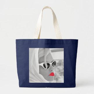 Grand Tote Bag Rétro plage enorme fraîche de Madame Face Graphic