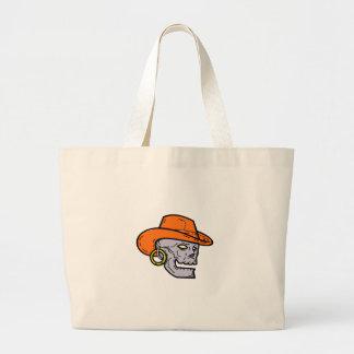 Grand Tote Bag Schéma mono crâne de pirate de cowboy
