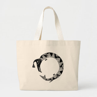 Grand Tote Bag Serpent de l'eau, conception de poterie de Mimbres