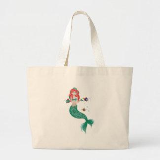 Grand Tote Bag Sirène d'une chevelure rouge