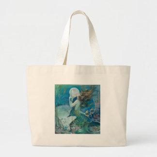 Grand Tote Bag Sirène vintage tenant la perle