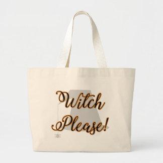 Grand Tote Bag sorcière svp Halloween drôle avec le casquette