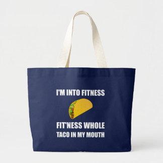 Grand Tote Bag Taco de forme physique dans ma bouche drôle