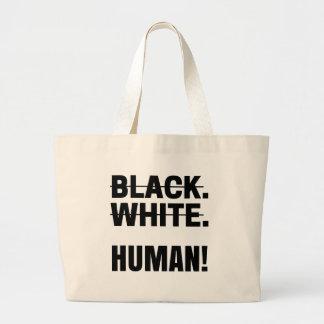 Grand Tote Bag Tasse humaine blanche noire de sweat - shirt à