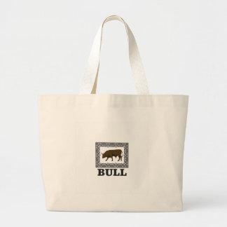 Grand Tote Bag taureau brun encadré