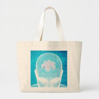Grand Tote Bag Technologie futuriste avec la puce Soluti d'esprit