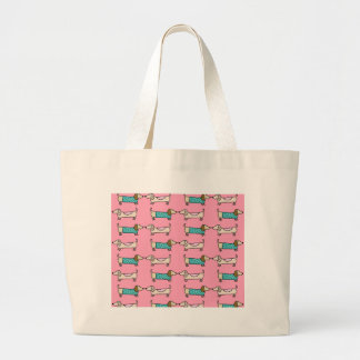 Grand Tote Bag Teckels dans l'amour rose