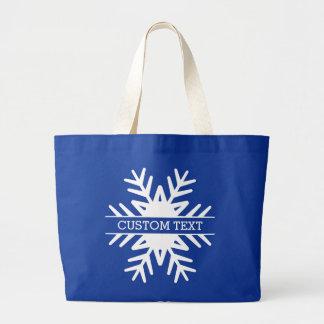 Grand Tote Bag Texte de coutume de flocon de neige de vacances