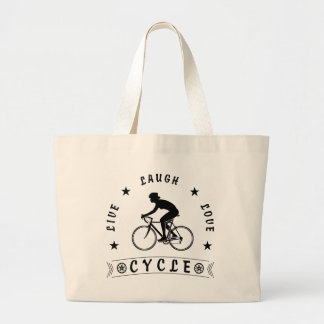 Grand Tote Bag Texte de Live Laugh Love Cycle de Madame (noir)