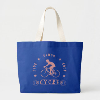 Grand Tote Bag Texte de Live Laugh Love Cycle de Madame (rose)