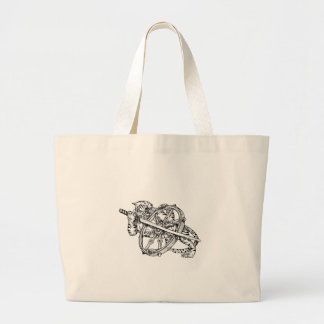 Grand Tote Bag Tigre avec le tatouage de roue de Katana et de