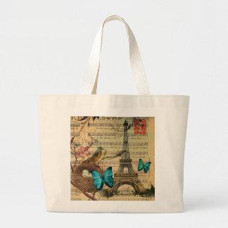 Grand Tote Bag Tour Eiffel bleu de Paris de nid d'oiseau de Robin