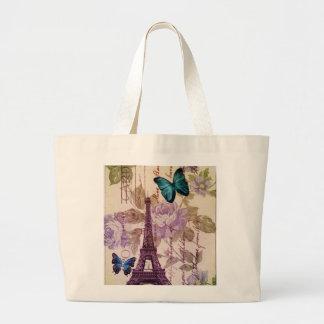 Grand Tote Bag Tour Eiffel floral chic de Paris de papillon de