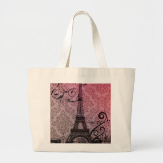 Grand Tote Bag Tour Eiffel romantique de Paris de damassé de rose