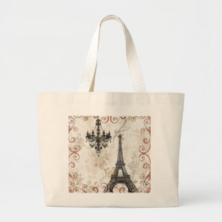 Grand Tote Bag Tour Eiffel romantique de Paris de feuille