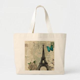 Grand Tote Bag Tour Eiffel rose de Paris de papillon beige de
