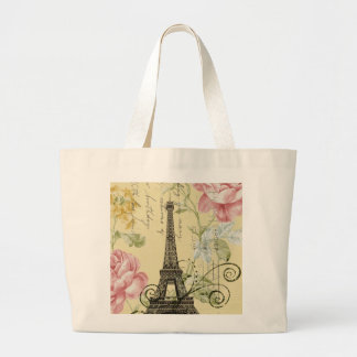 Grand Tote Bag Tour Eiffel vintage floral Girly de mod Paris