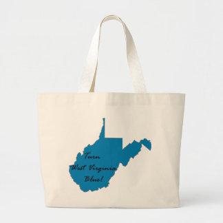Grand Tote Bag Tournez la Virginie Occidentale bleue ! Fierté