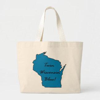 Grand Tote Bag Tournez le Wisconsin bleu ! Fierté Democratic !