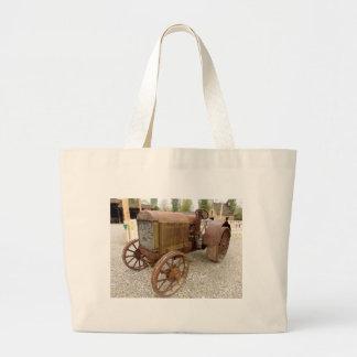 Grand Tote Bag Tracteur vintage rouillé